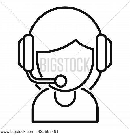 Girl Streamer Icon Outline Vector. Live Stream. Video Online