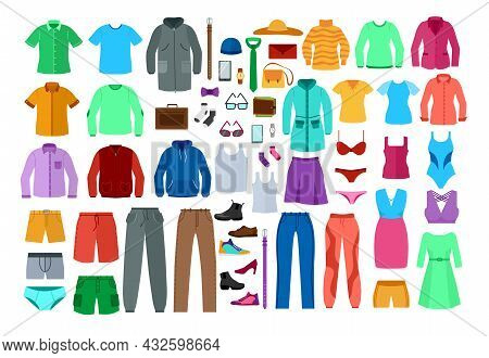 Set Of Colorful Clothes For Men And Women. Cartoon Vector Illustration. Male And Female Garments As