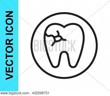 Black Line Tooth With Caries Icon Isolated On White Background. Tooth Decay. Vector
