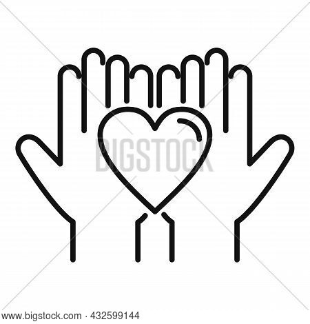 Trust Keep Heart Icon Outline Vector. Love Hand. Agreement Cooperation