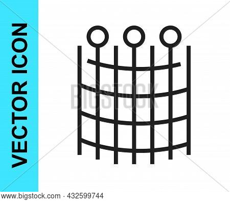 Black Line Fishing Net Pattern Icon Isolated On White Background. Fishing Tackle. Vector