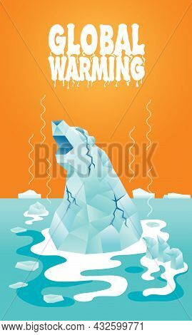 A Polar Bear's Shape Iceberg Is Melting. Representing A Global Crisis Is Happening.
