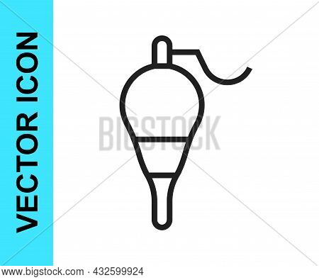 Black Line Fishing Float Icon Isolated On White Background. Fishing Tackle. Vector