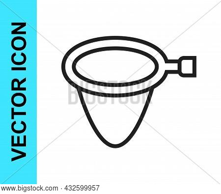 Black Line Fishing Net Icon Isolated On White Background. Fishing Tackle. Vector