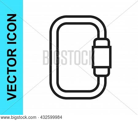 Black Line Carabiner Icon Isolated On White Background. Extreme Sport. Sport Equipment. Vector