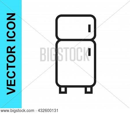 Black Line Refrigerator Icon Isolated On White Background. Fridge Freezer Refrigerator. Household Te