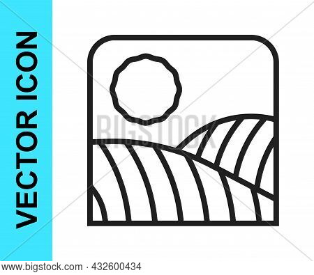 Black Line Agriculture Wheat Field Farm Rural Nature Scene Landscape Icon Isolated On White Backgrou