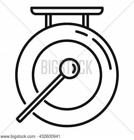 Signal Gong Icon Outline Vector. Asian Bell. Metal Drum