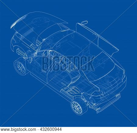 Assembling Electric Car. Vector Rendering Of 3d. Wire-frame Style. The Layers Of Visible And Invisib