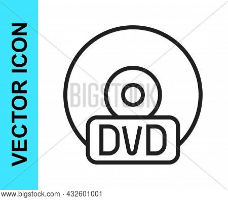 Black Line Cd Or Dvd Disk Icon Isolated On White Background. Compact Disc Sign. Vector