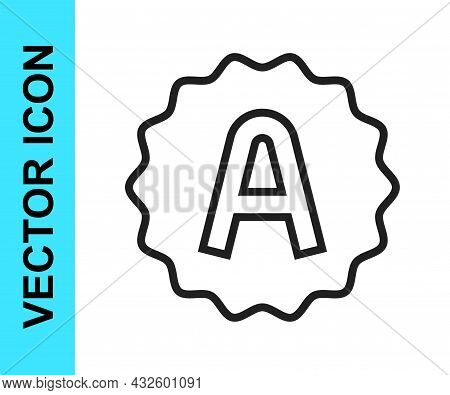 Black Line Exam Sheet With A Plus Grade Icon Isolated On White Background. Test Paper, Exam, Or Surv