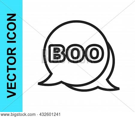 Black Line Boo Speech Bubble Icon Isolated On White Background. Happy Halloween Party. Vector