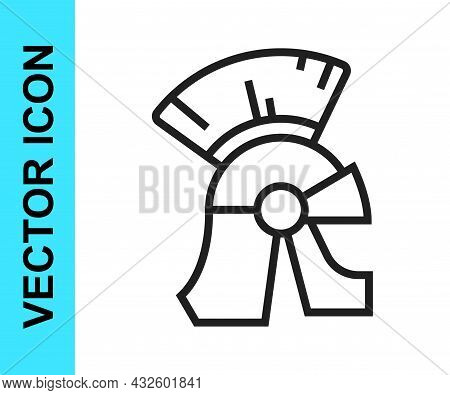 Black Line Roman Army Helmet Icon Isolated On White Background. Vector