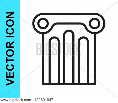 Black Line Ancient Column Icon Isolated On White Background. Vector