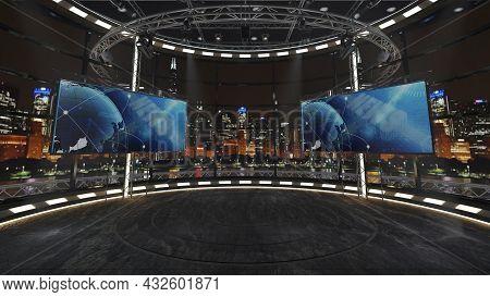 Virtual Tv Studio News Set 36. Green Screen Background. 3d Rendering.  Virtual Set Studio For Chroma