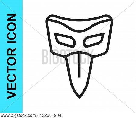 Black Line Carnival Mask Icon Isolated On White Background. Masquerade Party Mask. Vector