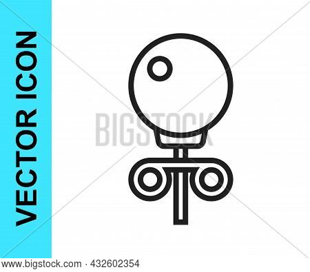 Black Line Stud Earrings Icon Isolated On White Background. Jewelry Accessories. Vector