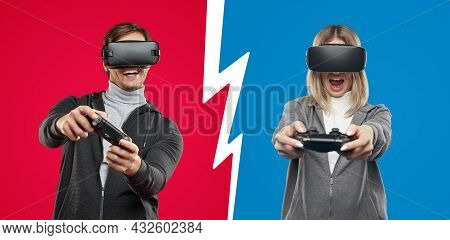 Collage Of Excited Young Man And Woman In Vr Headsets Using Controllers To Play Videogame While Ente