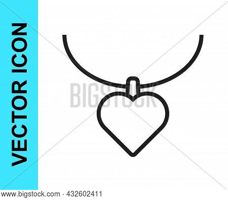 Black Line Necklace With Heart Shaped Pendant Icon Isolated On White Background. Jewellery Decoratio
