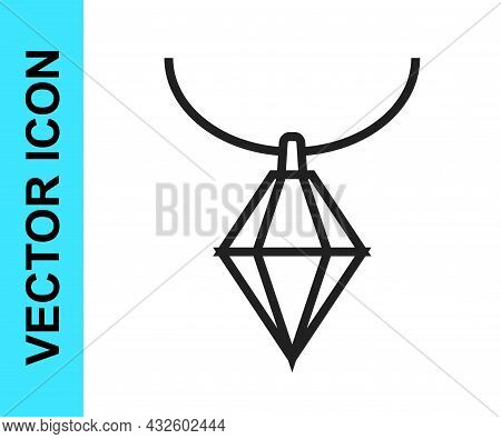 Black Line Pendant On Necklace Icon Isolated On White Background. Vector