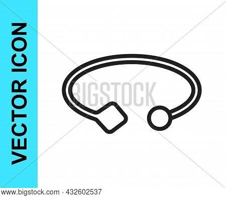 Black Line Bracelet Jewelry Icon Isolated On White Background. Bangle Sign. Vector
