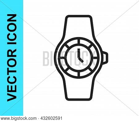 Black Line Wrist Watch Icon Isolated On White Background. Wristwatch Icon. Vector
