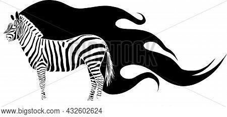 Vector Illustration Of Silhouette Zebra With Flames