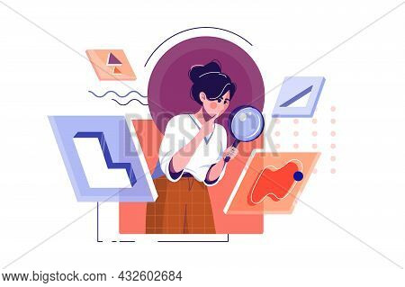 Woman In Search With Magnifying Glass Vector Illustration. Search For Opportunities, Look Into Futur