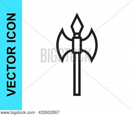 Black Line Medieval Axe Icon Isolated On White Background. Battle Axe, Executioner Axe. Medieval Wea