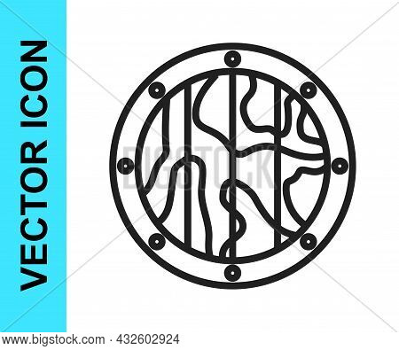 Black Line Round Wooden Shield Icon Isolated On White Background. Security, Safety, Protection, Priv