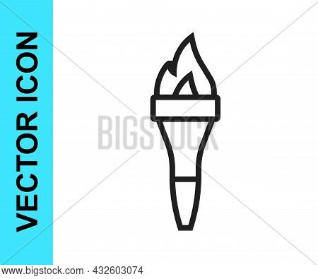 Black Line Torch Flame Icon Isolated On White Background. Symbol Fire Hot, Flame Power, Flaming And