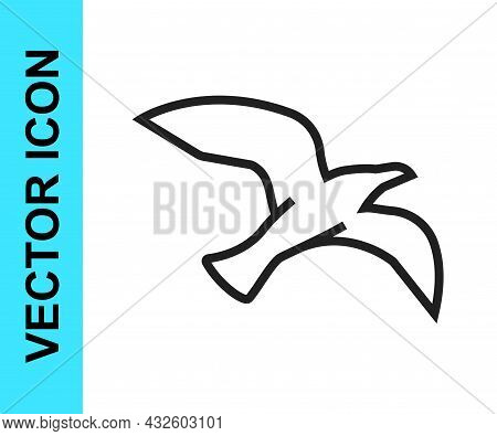 Black Line Bird Seagull Icon Isolated On White Background. Vector
