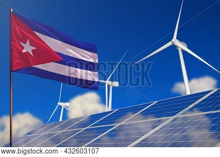 Cuba Renewable Energy, Wind And Solar Energy Concept With Wind Turbines And Solar Panels - Alternati