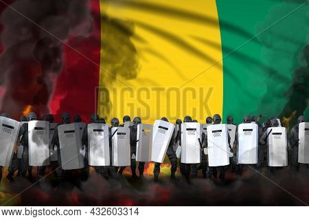 Guinea Police Swat In Heavy Smoke And Fire Protecting Country Against Disorder - Protest Stopping Co