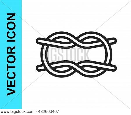 Black Line Nautical Rope Knots Icon Isolated On White Background. Rope Tied In A Knot. Vector