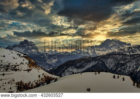 The Evening Comes Over The Dolomites With A Beautiful Evening Light That Breaks Through The Clouds A