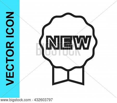 Black Line Price Tag With An Inscription New Icon Isolated On White Background. Badge For Price. Pro