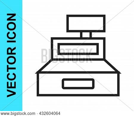 Black Line Cash Register Machine With A Check Icon Isolated On White Background. Cashier Sign. Cashb