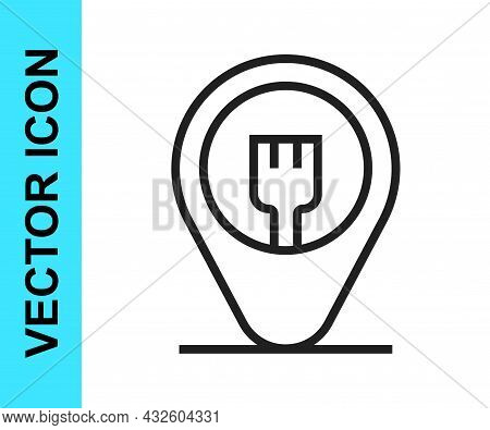 Black Line Cafe And Restaurant Location Icon Isolated On White Background. Fork Eatery Sign Inside P