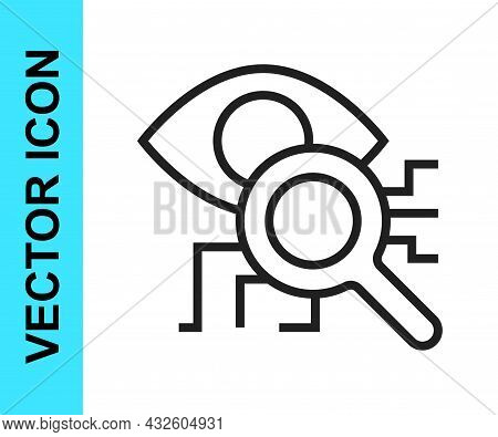Black Line Eye Scan Icon Isolated On White Background. Retinal Scan. Scanning Eye. Security Check Sy