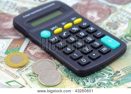 Calculator over money background. Polish zloty. Polska waluta. poster