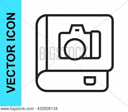 Black Line Photo Album Gallery Icon Isolated On White Background. Vector