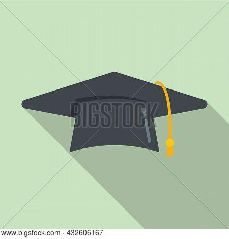 Graduate Hat Icon Flat Vector. School College. Academic Cap
