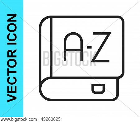 Black Line Translator Book Icon Isolated On White Background. Foreign Language Conversation Icons In