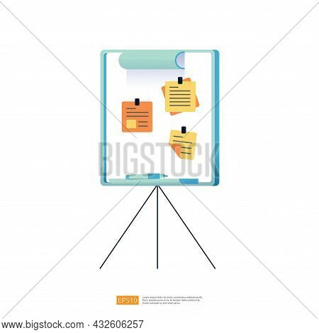 Note Memo On Board For Reminder, Bulletin Or Schedule Concept Vector Illustration With Flat Style De