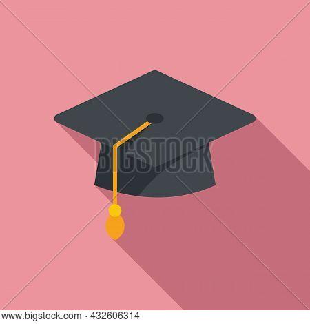 Degree Hat Icon Flat Vector. University Diploma. Student Academy