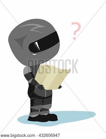 Motorcyclist In A Black Jacket And Helmet. Biker Uniform. Looks For A Route On The Map. Cartoon Styl