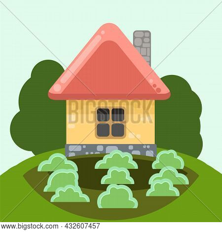 Small Country House With Yellow Walls And Red Roofs. Funny Cartoon Style. Country Suburban Village.
