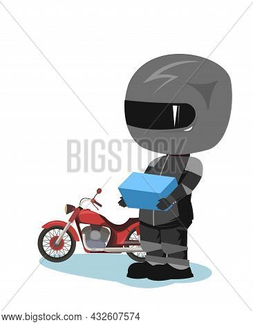 Biker Cartoon. Child Illustration. Delivered The Package. Sports Uniform And Helmet. Cool Motorcycle