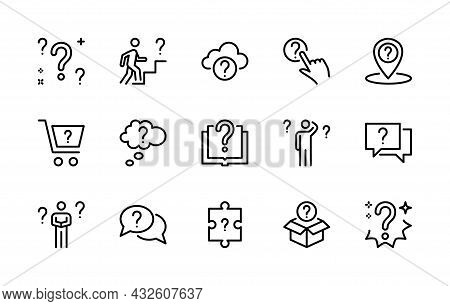 Questions Vector Linear Icons Set. Simple Isolated Collection Of Question Icon For Web Sites And Mob